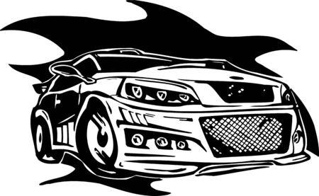 Street Racing Cars. illustration ready for vinyl cutting. Stock Vector - 8682376
