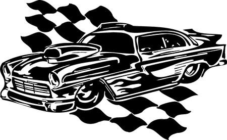 Street Racing Cars. illustration ready for vinyl cutting. Stock Vector - 8682419