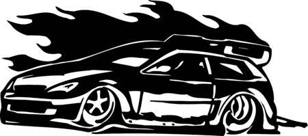 Street Racing Cars.  illustration ready for vinyl cutting. Stock Vector - 8682808