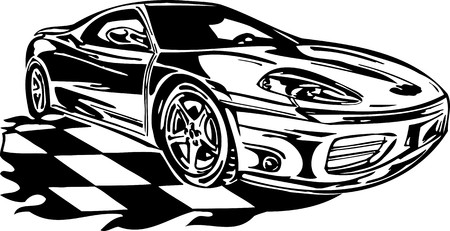 motorized sport: Street Racing Cars. illustration ready for vinyl cutting.