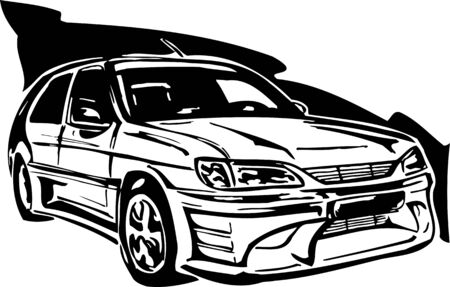 Street Racing Cars. illustration ready for vinyl cutting.  Vector