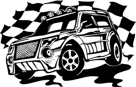 Street Racing Cars. illustration ready for vinyl cutting.  Stock Vector - 8682377