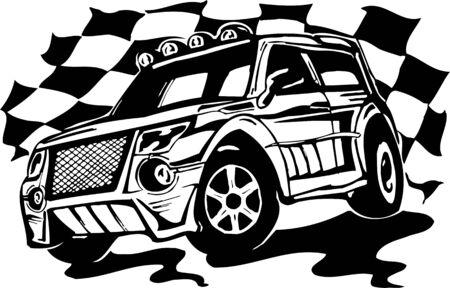Street Racing Cars. illustration ready for vinyl cutting. Stock Vector - 8682377