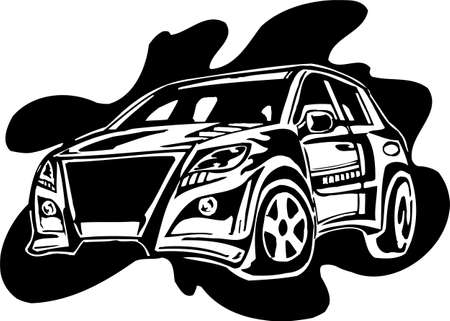 spoiler: Street Racing Cars. illustration ready for vinyl cutting.