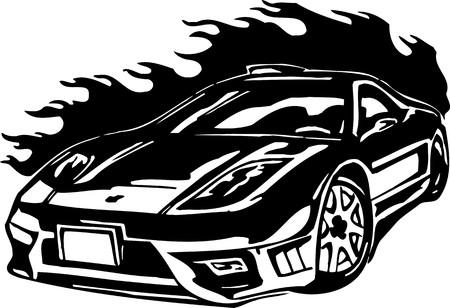 Street Racing Cars. illustration ready for vinyl cutting. Stock Vector - 8682417