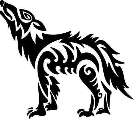 Wolf.Tribal Animals.Vector illustration ready for vinyl cutting. Vector