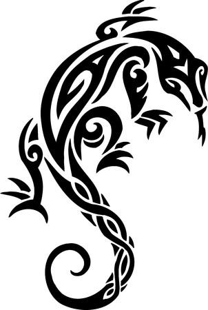 sauri: Illustrazione Lizard.Tribal Animals.Vector pronto per il taglio di vinile.