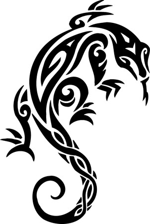 reptile: Lizard.Tribal Animals.Vector illustration ready for vinyl cutting. Illustration
