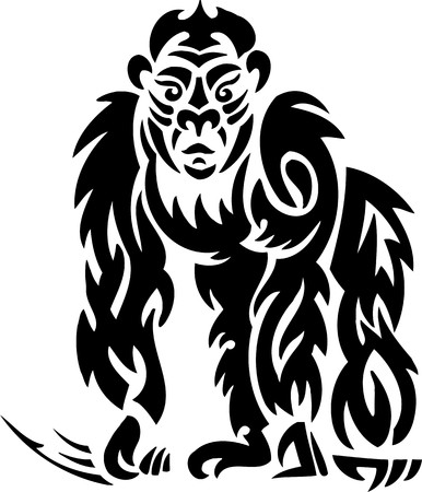 abstract gorilla: Gorilla.Tribal Animals.Vector illustration ready for vinyl cutting.
