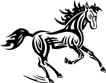 Horse.Tribal Animals.Vector illustration ready for vinyl cutting. Vector