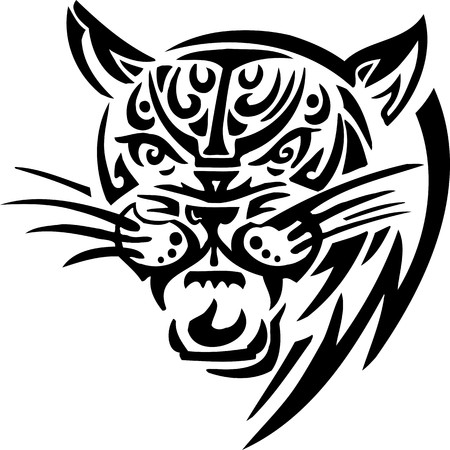 Tiger.Tribal Animals.Vector illustration ready for vinyl cutting.