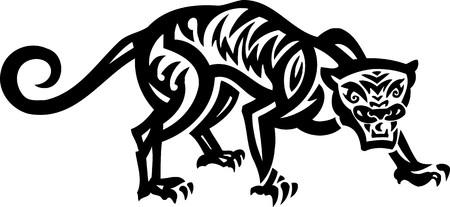 Ilustración de Tiger.tribal Animals.Vector listo para corte de vinilo. Ilustración de vector