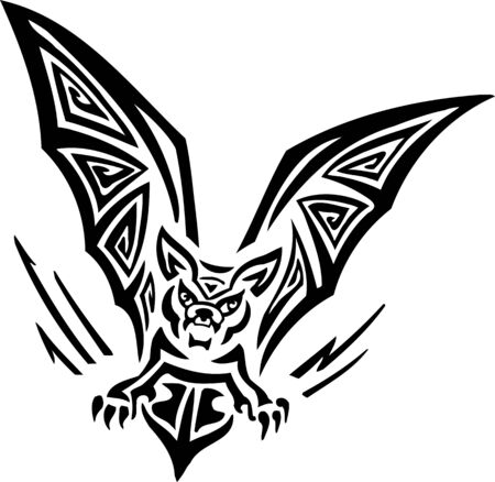 Bat.Tribal Animals.Vector illustration ready for vinyl cutting. Stock Vector - 8758901