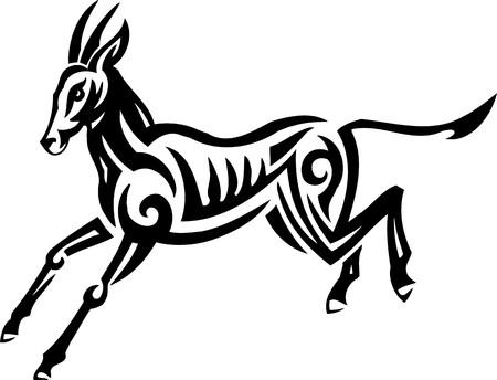 damhirsch: Fallow deer.Tribal Animals.Vector illustration ready for vinyl cutting. Illustration