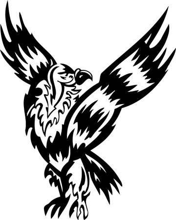 condor: Eagle.Tribal Animals.Vector illustration ready for vinyl cutting.