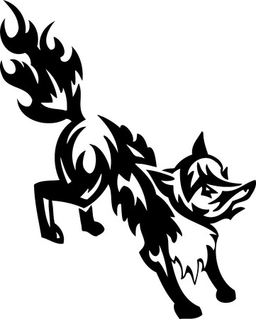wild asia: Fox.Tribal Animals.Vector illustration ready for vinyl cutting. Illustration