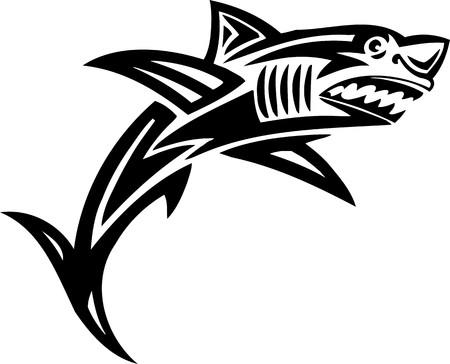 curve claw: Shark.Tribal Animals.Vector illustration ready for vinyl cutting. Illustration