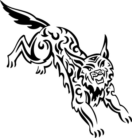 Lynx.Tribal Animals.Vector illustration ready for vinyl cutting. Stock Vector - 8758926
