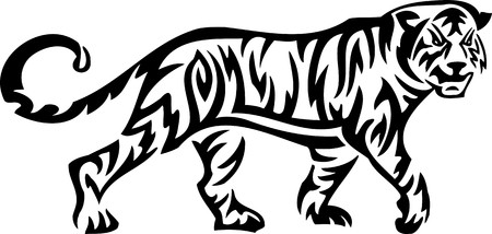 wild asia: Tiger.Tribal Animals.Vector illustration ready for vinyl cutting.