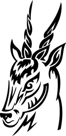 damhirsch: Damhirsch.Stammes-Animals.Vector Abbildung bereit f�r Vinyl-schneiden. Illustration