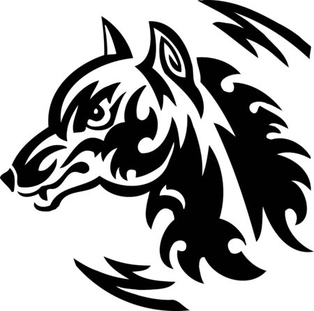 Wolf.Tribal Animals  illustration ready for vinyl cutting. Vector