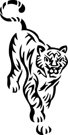curve claw: Tiger.Tribal Animals.Vector illustration ready for vinyl cutting.