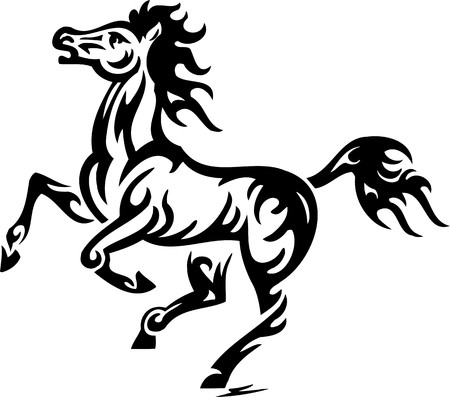 adornment: Horse.Tribal Animals.Vector illustration ready for vinyl cutting.