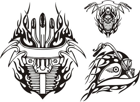 Skull in a piracy hat, a gasoline tank of a motorcycle and the motorcycle motor. Tribal bikes. Vector illustration ready for vinyl cutting. Vector