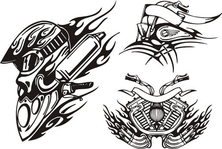 front wheel: Helmet of the biker, front part of a motorcycle, the motorcycle motor. Tribal bikes. Vector illustration ready for vinyl cutting.