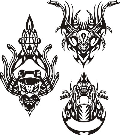 The bearded man with tubes from a head, a skull with horns, a gasoline tank. Tribal bikes. Vector illustration ready for vinyl cutting. Vector