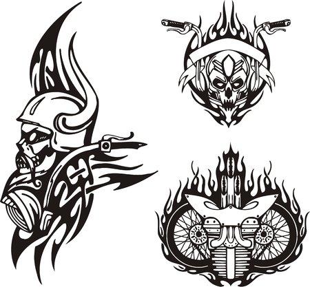 skull logo: Skull in a horned helmet, motorcycle wheels. Tribal bikes. Vector illustration ready for vinyl cutting.