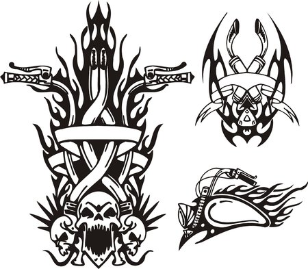 Three skulls with tubes from heads, a gasoline tank and a wheel. Tribal bikes. Vector illustration ready for vinyl cutting. Vector