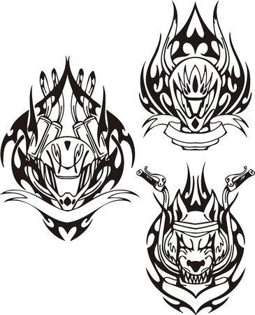 Head of a wolf and motorcycle helmet. Tribal bikes. Vector illustration ready for vinyl cutting. Vector