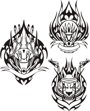 motorradhelm: Leiter der Wolf und Motorrad Helm. Tribal Bikes. Vektor-Illustration bereit f�r Vinyl schneiden. Illustration