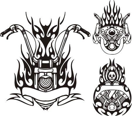 Roue de la moto, le moteur et démon. Vélos tribales. Illustration vectoriel est prête pour la découpe de vinyle.