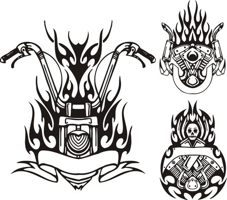 Motorcycle wheel, the motor and demon. Tribal bikes. Vector illustration ready for vinyl cutting.