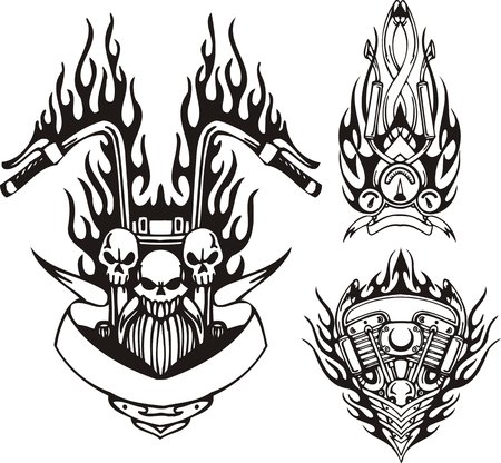Three skulls in a black flame, the motor and a speedometer. Tribal bikes. Vector illustration ready for vinyl cutting. Vector