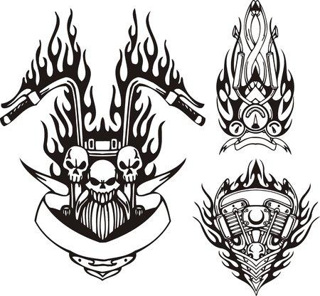 moteros: Tres cr�neos en una llama negra, el motor y un veloc�metro. Bicicletas tribales. Ilustraci�n de vector listo para el corte de vinilo.