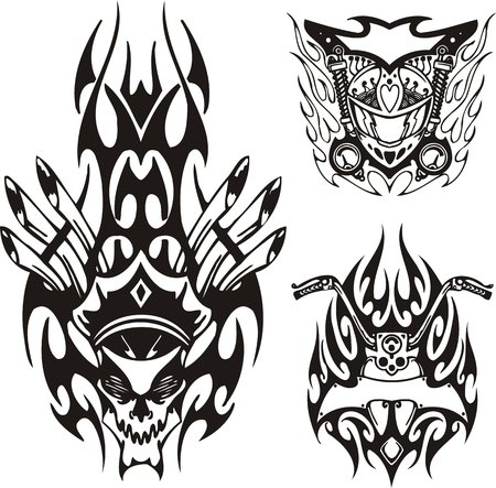 tribal design: Demon in a militian hat with tubes from a head and a motorcycle part. Tribal bikes. Vector illustration ready for vinyl cutting. Illustration