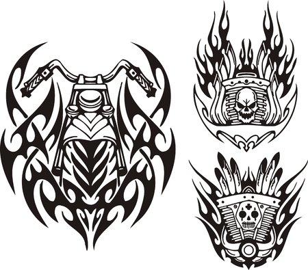 Schedel, demon en motorfiets wiel. Tribal fietsen. Vectorillustratie klaar voor vinyl snijden.