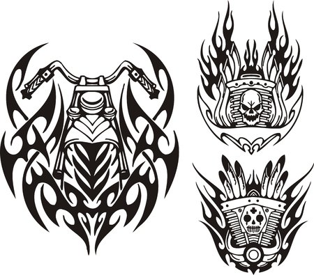 Skull, demon and motorcycle wheel. Tribal bikes. Vector illustration ready for vinyl cutting. Vector