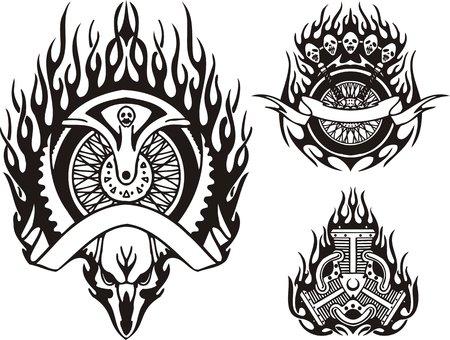 horned: Cr�neo de una parte con cuernos de animal y la motocicleta. Bicicletas tribales. Ilustraci�n vectorial listo para corte de vinilo.