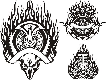 Skull of a horned animal and motorcycle part. Tribal bikes. Vector illustration ready for vinyl cutting. Vector