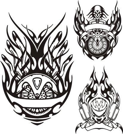 casco de moto: Cr�neo con un cabello largo, un casco de motocicleta y una rueda. Bicicletas tribales. Ilustraci�n vectorial listo para corte de vinilo. Vectores