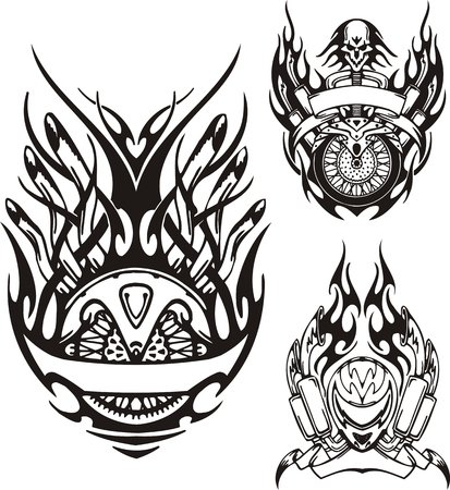 Skull with a long hair, a motorcycle helmet and a wheel. Tribal bikes. Vector illustration ready for vinyl cutting.