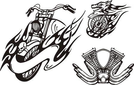 motor racing: Motociclismo en forma de un lobo y el carburador. Bicicletas tribales. Ilustraci�n vectorial listo para corte de vinilo.