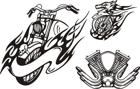 motorcycle racing: Motorcycle in the form of a wolf and the carburettor. Tribal bikes. Vector illustration ready for vinyl cutting.