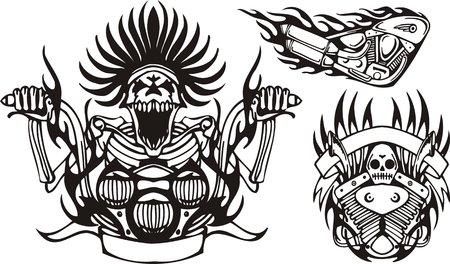 motor racing: Esqueleto loco en la rueda de una motocicleta. Bicicletas tribales. Ilustraci�n vectorial listo para corte de vinilo.