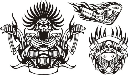 Mad skeleton at the wheel a motorcycle. Tribal bikes. Vector illustration ready for vinyl cutting. Vector