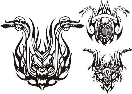 Three wheels of a motorcycle. Tribal bikes. Vector illustration ready for vinyl cutting. Vector